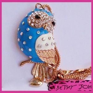 Betsey Johnson Blue Enamel & Crystal Owl